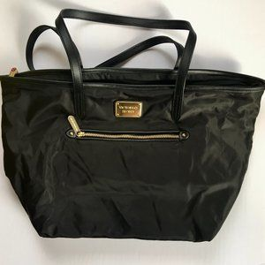 Victoria's  Secret Black Tote with Leopard Print